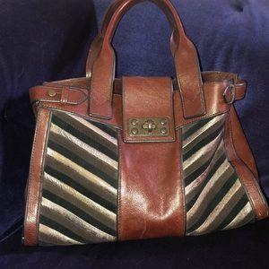 Fossil Vintage Reissue  Chevron  Shoulder Bag Tote